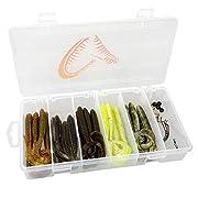 Savage Gear Rib Worm Kit mit 47 Teilen für das Angeln auf Raubfische Würmer: je 3 Stück in 5 verschiedenen Farben und 2 verschiedenen Größen 4 Klickperlen, 4 Wirbel Gr. 6 Finezze Offset Haken: 2x Gr 1/0, 2x Gr. 3/0, Messinggewichte: 2x 5g, 2x 7g, 1x ...