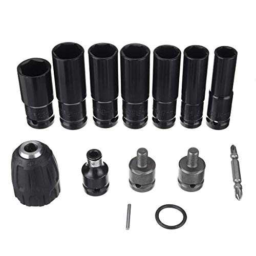 KTZAJO 10pcs Electric Wrench Screwdriver Hex Socket Head Kits Set for Impact Wrench Drill