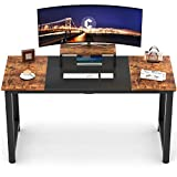 CubiCubi Computer Desk 55' with Splice Board Study Writing Table for Home Office, Modern Simple Style PC Desk, Black Metal Frame, Rustic