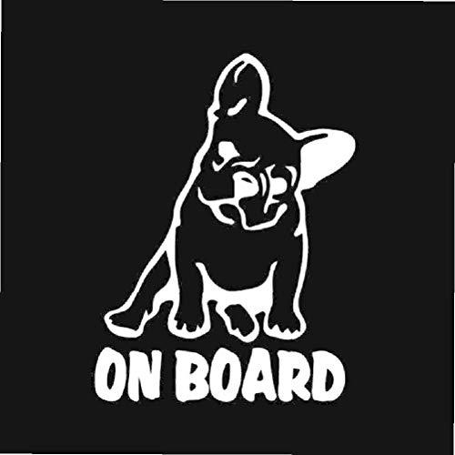 MEGNATIA 10.9X14.6CM Car Sticker Vinyl Decal Dog French Bulldog On Board Black/Silver C24-1186