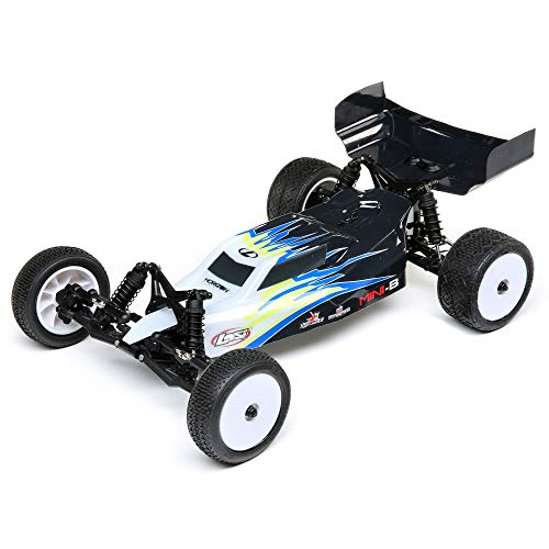 Losi RC Car 1/16 Mini-B Brushed RTR (Ready-to-Run, no Additional Items Needed) 2WD Buggy, Black/White, LOS01016T2