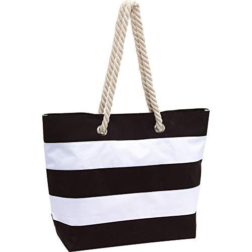 INSPI Strandtasche Sylt Badetasche Tragetasche Einkaufstasche Umhängetasche XL schwarz