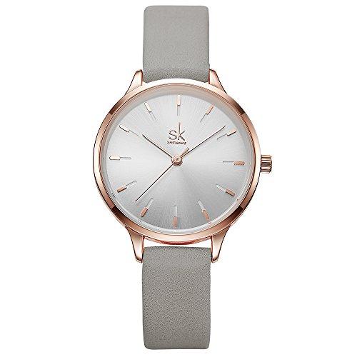 SHENGKE Women Watches Leather Band Luxury Quartz Watches Girls Ladies Wristwatch Relogio Feminino (8025-GY)
