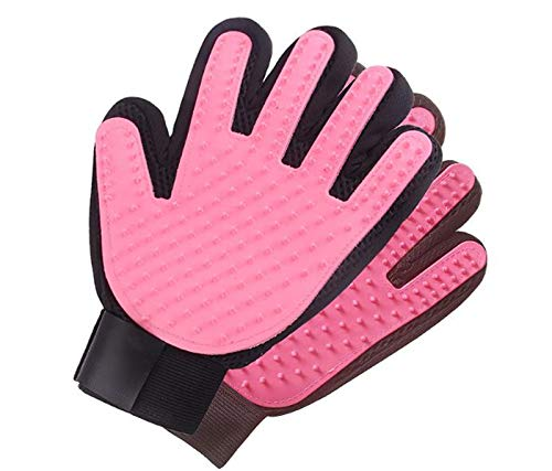 CNBPLS Dog Grooming Glove Gentle Deshedding Brush Glove,Pet Double Sided Hair Remover Two-Piece Suit,Remove Cat Hair From Furniture,Pink,2