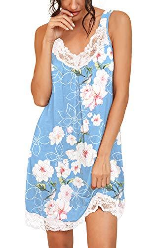 PrinStory Women's Loose Full Slips Lace Nightgown Chemise Sleepwear Cotton Jersey Lingerie US X-Large Print Flower Light Blue