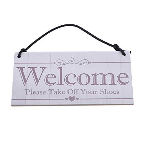 GOMYIE Willkommen Bitte ziehen Sie Ihre Schuhe aus Tipps Holz Schild Lamellenholz Schild Home Decoration (Multicolor)