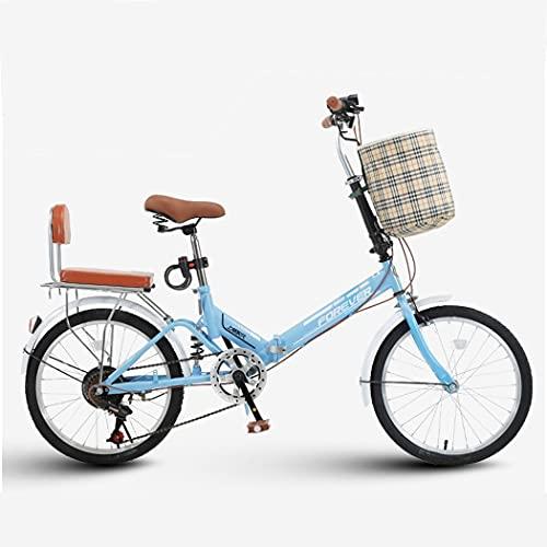 ZHCSYL - Bicicletta pieghevole ad alto tenore di carbonio, per uomo e donna, pieghevole, 20', 7 marce, per adulti, ultra leggera, portatile, per raggi (colore: blu)