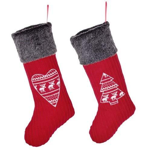 Berry Red Nordic ricamato albero di Natale tradizionale e cuore calza set invernale in finta pelliccia con bordo grigio. Aggiungere festive Country Cheer al tuo caminetto, corridoio o focolare. H 51x W 18cm.