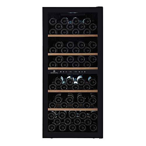 Cavecool Weinkühlschrank für 102 Flaschen │ Weinkühler mit optimaler Serviertemperatur bereitzuhalten │ Weinkühlschrank mit 2 zonen │ Schwarz