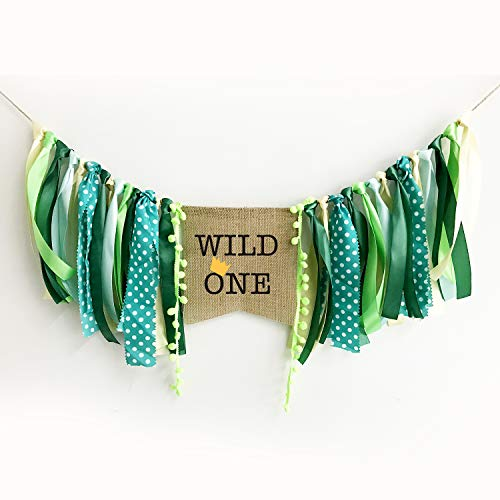 Wild One Banner Bunting,Green 1st Birthday Decorations Banner,2.5 M Ribbon Flags Highchair Banner for Baby's First Birthday Decorations