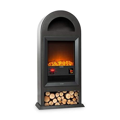Klarstein Blockhouse - camino elettrico, caminetto, stufa, Effetto fiamma legno decorativo, Capacità di riscaldamento di 1000 o 2000 watt, Telecomando, Finitura Stile Ghisa