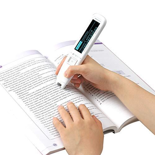 Hanvon Pen Reader Pen Scanner, Portable Scanning Pen,OCR Digital Highlighter and Exam Reader Pen Scanner, Recording Translation Pen with Stylus, Synchronous Reading, White