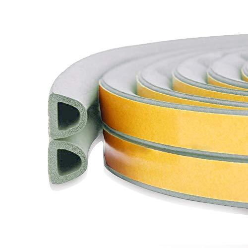 Burlete para puerta y ventanas, autoadhesivo, insonorizable, evita colisiones, goma autoadhesiva, tipo D, 1,8 m (gris)