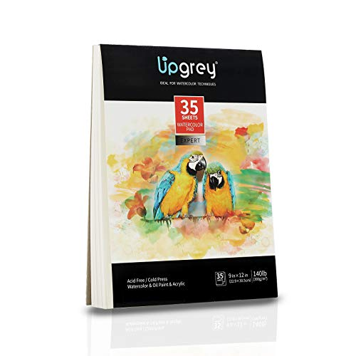 UPGREY Watercolor Paper Pads 35 Sheets Painting Paper 9'x12' Sketch Pads Drawing Paper Acid Free Sketchbook Watercolor Journal Cold-Pressed Double Sided for Wet & Dry Media (140lb/300gsm)