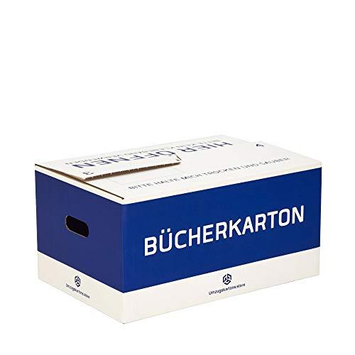 Bücherkarton Professional - 10 Stück - 35 Liter - Selbstschließend - Automatik - Bücherboxen - Doppelte Wellpappe - Umzugskartons