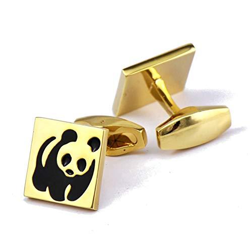 ANAZOZ Herren Manschettenknöpfe Kupfer Manschettenknopf Lustig Panda Elegante Cufflinks Hemdanzug Gold mit Kostenlose Gravur