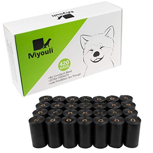 Miyouli Hundekotbeutel, Bio-Maisstärke-Mischung, umweltfreundlich, extra stark, 100% auslaufsicher, 420 Stück für 28 Rollen