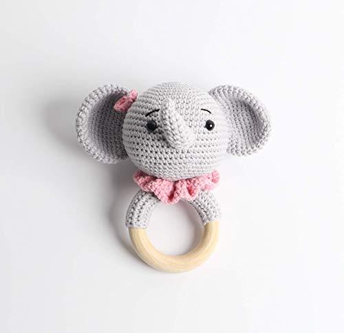 Häkel-Rassel - Taufgeschenk - Baby Rassel - Elefant Rosa