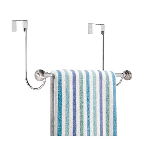 iDesign York Metal Over the Shower Door Towel Bar, Rack for Master, Guest, Kids' Bathroom, 6' x 18' x 8.5' - Chrome