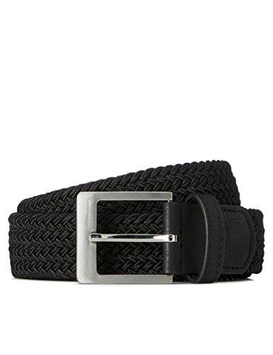 Marca Amazon - find. Cinturón Trenzado para Hombre, Negro (Schwarz), M, Label: M