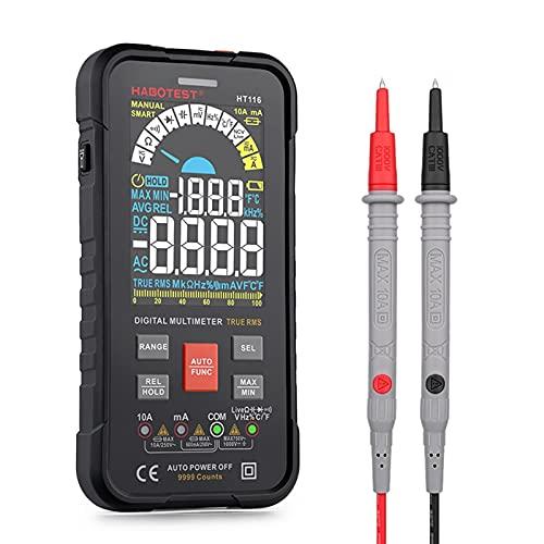 herramientas eléctricas Multímetro Profesional Digital Profesor automotriz Habotest NCV 1000V CA DC HZ OHM TEMPERIENTE TESTERSER HT116 medidor de voltaje (Color : HT116)