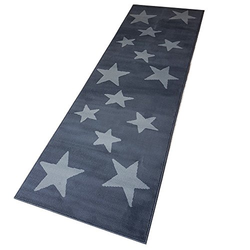 Moderner Läufer Teppich Brücke Teppichläufer Sterne Stars ca. 80x250 cm, Größe:80x250 cm, Farbe:dunkelgrau/grau