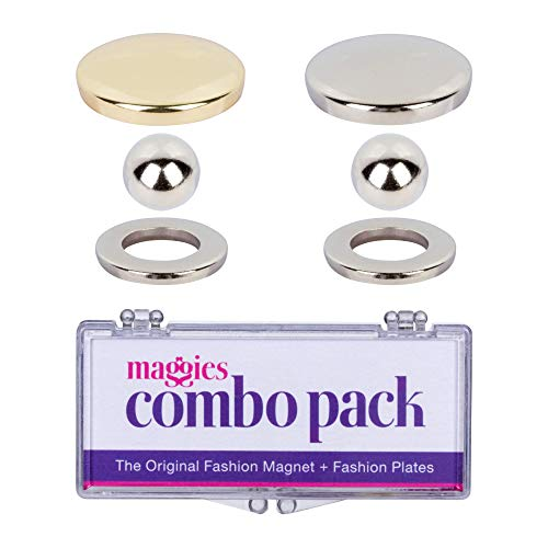MAGGIES Revolutionary Patented Magnetic Fasteners with Gold & Silver Button Covers, Easily Secure Fabric and Clothing, Reusable No-Sew Fashion Alternative to Pins and Clips (2 Pack)