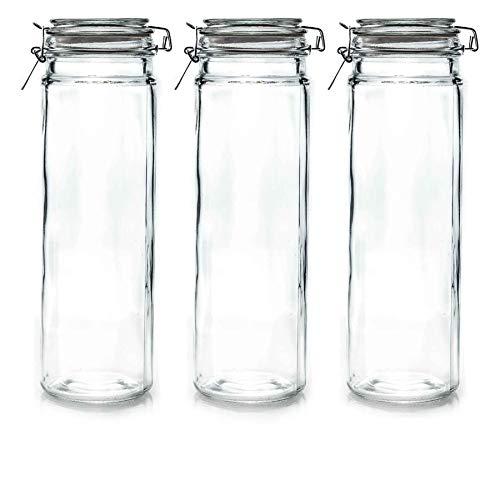 Argon Vaisselle en Verre Jars Spaghetti avec Couvercle Airtight Clip - 2 litres Set - Joint Blanc - Lot de 3