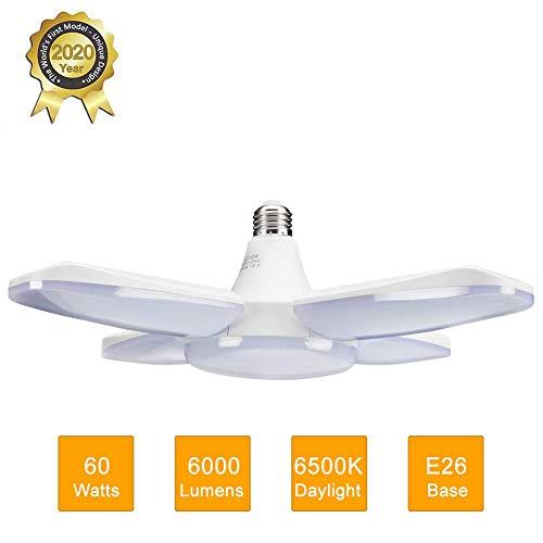 DOOK Luz de Garaje LED, 60W E26 6500K Lámpara de Taller deformable con 4 Paneles Ajustables, luz de Techo LED para Garaje, almacén, Taller, sótano, Gimnasio, Cocina (1 Pieza)