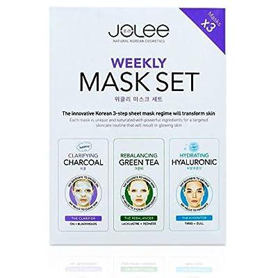 JoLee Weekly Face Sheet Mask Set 3 Pack - Charcoal Bubble Mask, Green Tea & Collagen Mask, Hyaluronic Acid Gel Mask Facial Detox Kit Deep Acne Purifying Mask by Jolee