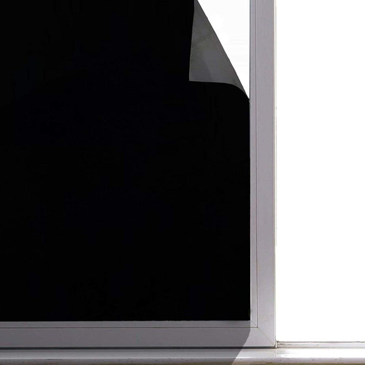 詳細に破壊牽引真っ黒 超遮光 遮光シート 貼ってはがせる窓用フィルム 光漏れ激減 完全目隠し UVを96%カット 睡眠には十分な暗さ 日よけ 防犯 飛散防止 水で貼れる 防虫忌避 目隠しシート ガラスフィルム すりガラス 遮光 シート フィルム(夜の帳 44.5 x 200cm)