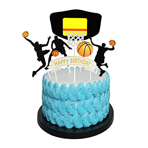 Happy Birthday basketball Cake Topper Birthday Cake Topper Birthday Decorations, Happy Birthday Cupcake Topper, Glitter Gold Decoration