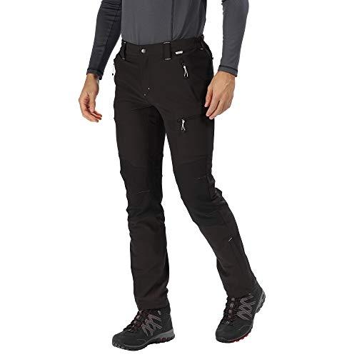 Regatta Questra II Herren-Hose, wasserabweisend und windabweisend, Softshell-Hose S schwarz/schwarz