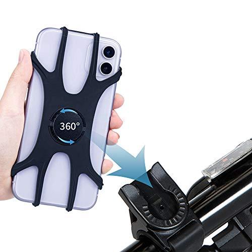 Soporte movil bicicleta, compatible con la cara y el tacto, rotación universal de 360 °, ajustable y desmontable de silicona para iPhone, Huawei, Samsung, Google Pixel y más teléfonos