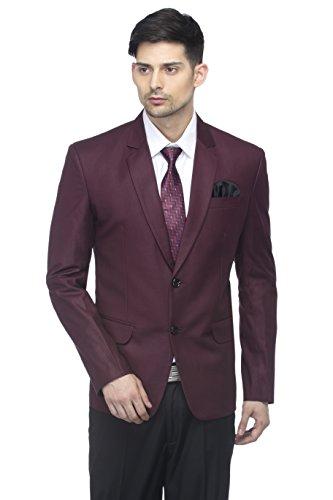 FAVOROSKI Designer Men's Slim Fit Notched Lapel Single Breasted Solid Blazer, Wine