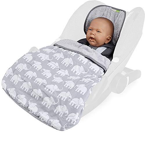 Priebes Cosybag STELLA | Fußsack 2in1 für Babyschale/Leichter Universal Fußsack und Einschlagdecke für Babyschale/Babydecke für Babyschale, Design:elefanten grau