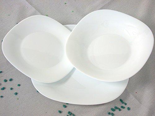 Rocco Bormioli 6197802, Parma Piatto Opale Fondo, Vetro, Bianco, 22.5x22.5 cm, 6 pezzi