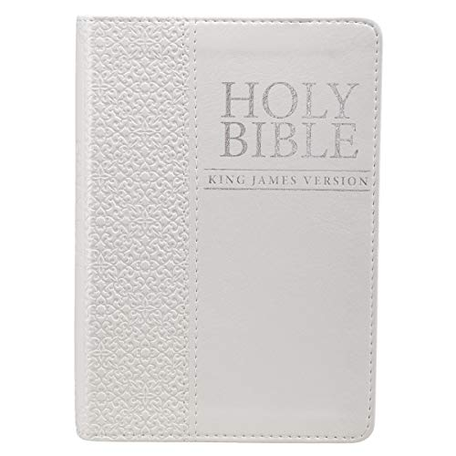 KJV Holy Bible, Compact Bible - White Faux Leather Bible w/Ribbon Marker, Red Letter Edition, King James Version