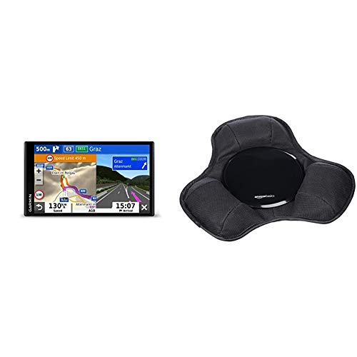 Garmin Camper 780 MT-D EU Navi - Rahmenloses Display, 3D-Navigationskarten für Europa, Pois, Sprachsteuerung & AmazonBasics - Armaturenbrett-Halterung für tragbare Navigationsgeräte von Garmin