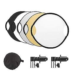 UTEBIT 5 in 1 Runde Faltreflektor 80cm / 32-Zoll Licht Reflektor mit Griff Diffusor und Silberner,Goldener,Weißer,Schwarzer Reflector mit 2 klemme Reflector Clip für Portrait,Produktfotografie