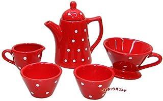 陶器製 プチサイズ カフェオレセット レッド