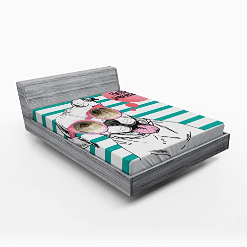 Ambesonne Pitbull Fitted Sheet, Portrait of English Pitbull Wearing Sunglassess with Hello Summer Words on Stripes, Soft Decorative Fabric Bedding All-Round Elastic Pocket, Queen Size, Teal Pink