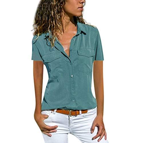 VEMOW Blusas Camisetas Mujeres Manga Corta Suelta Manga Corta Cuello Bolsillos Botones Tops(Azul,4XL)