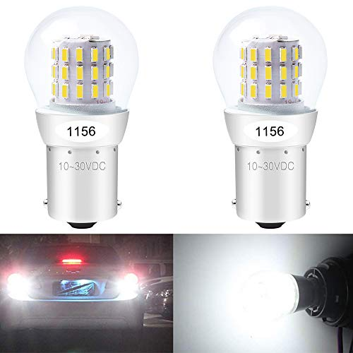 Alopee - 2-Pack 1156 BA15S 1141 1003 7506 1073 Extremely Bright White LED Light 9-30V-DC, AK-3014 39 SMD Replacement Bulbs for Interior RV Camper Brake Tail Back Up Reverse Bulbs Day Running Light