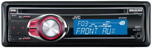 JVC KD R 303 MP3-CD-Tuner (Front Aux, rote Tastenbeleuchtung, blaues Display) schwarz