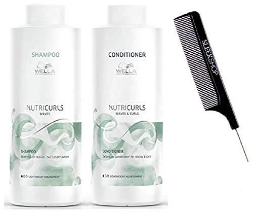 Wella NUTRICURLS Shampoo & Detangling Conditioner for WAVES & CURLS Duo Set (w/Sleek Comb) Lightweight, No Sulfates Nutri Curls (33.8 oz + 33.8 oz - LARGE LITER DUO KIT)