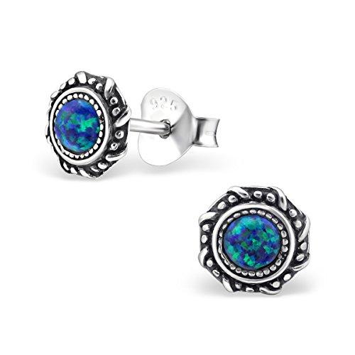 Luna Jule Ohrstecker Silber mit Opal Stein in Pfauen Blau, 925 Sterling Silber, Ohrring 6 x 6 mm, Stein 3 x 3 mm