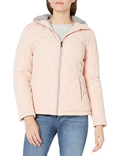 HFX Women's Quilted Cozy Sherpa Lined Jacket, Dusty Pink, Large