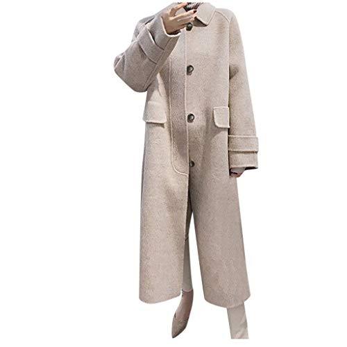 Writtian Wintermantel Damen Warm Outwear Mantel Lässige Wollmantel Lang Trenchcoat Lässige Reverskragen Woll Coat Einfarbig Long Wool Jacket Button-down Überzieher Teenager Mädchen Beige Outwear