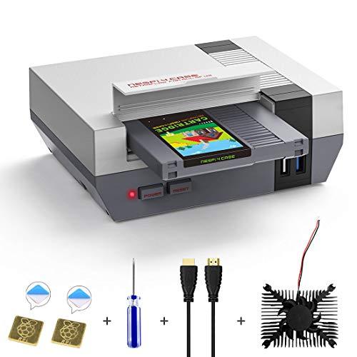 AKNES RETROFLAG Raspberry Pi 4 Modèle B Boîtier, NESPi 4 avec Boîtier SSD, Ventilateur, Adaptateur HDMI et Dissipateur pour Raspberry Pi 4 Modèle B